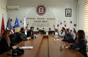 """HERAS Plus - project team meets Rector of the University """"Haxhi Zeka"""" in Peja"""